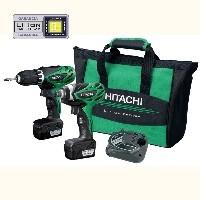 Hitachi KC10DFL-TH  akkus fúró-csavarbehajtó szett ( 2db 3Ah Li-Ion akku+DS10DFL fúró-csavarozó+WH10DFL akkus ütvecsavarozó)+Ajándék bit készlet