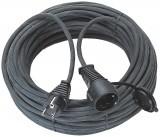 Hosszabbító 25m H05RR-F 3x1,5mm2 fekete gumi vezeték, IP44, csapfedeles, ütésálló kivitel