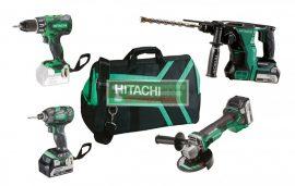 HiKOKI-Hitachi KC18DG4L akkus csomag(DH18DBL, G18DBL, WH18DBDL2, DS18DBSL)+3db 18/ 5Ah akku+ 1db töltő+Sport táska+HiKOKI véső klt***