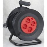 Kábeldob mûanyag, 4 dugalj, termokapcsoló, 40m/ 3x1,5mm gumikabellel fekete